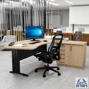 שולחן עבודה ארגונומי דגם Alfa רגל שחורה + ארונית