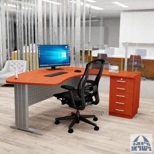 שולחן עבודה ארגונומי דגם Alfa רגל כסופה