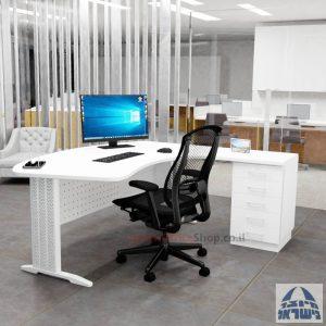 שולחן עבודה ארגונומי דגם Alfa רגל לבנה