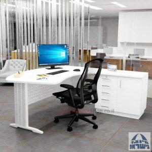 שולחן עבודה ארגונומי דגם Alfa רגל לבנה + ארונית