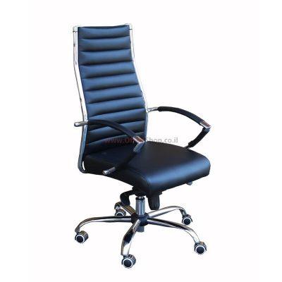כסא מנהלים שירן גבוה בריפוד PU בסיס ניקל