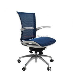 כסא מנהלים מפואר דגם GALAXY בריפוד רשת כחולה