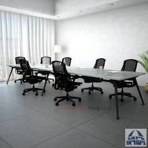 שולחן ישיבות מעוצב דגם Spider כפול רגל שחורה