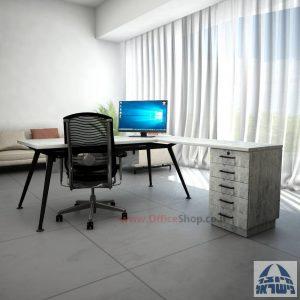 שולחן מנהלים מעוצב Spider- M5 שחור + שלוחת מגירות ומיסתור עץ