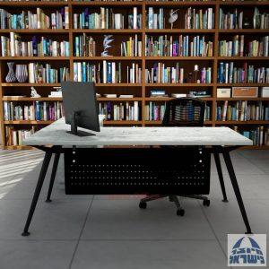 שולחן מנהלים מעוצב Spider- M5 שחור + שלוחת מגירות ומיסתור מתכת
