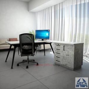 שולחן מנהלים מעוצב Spider- MD5 רגל שחורה + שלוחה ומיסתור עץ
