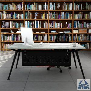 שולחן מנהלים מעוצב Spider רגל שחורה כולל מיסתור מתכת