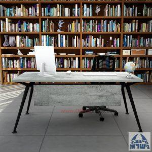 שולחן מנהלים מעוצב Spider רגל שחורה כולל מיסתור עץ