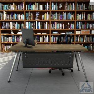 שולחן מנהלים מעוצב Spider- M5 כרום ניקל + שלוחת מגירות ומיסתור מתכת