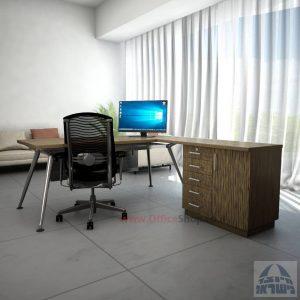 שולחן מנהלים מעוצב Spider- MD5 רגל כרום ניקל + שלוחה ומיסתור עץ
