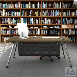 שולחן מנהלים מעוצב Spider רגל כרום ניקל כולל מיסתור מתכת