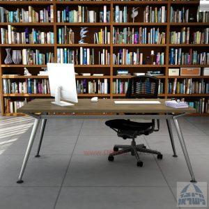 שולחן מנהלים מעוצב Spider ללא מיסתור רגל כרום ניקל