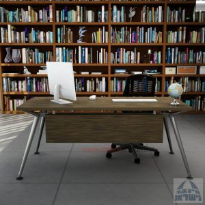 שולחן מנהלים מעוצב Spider רגל כרום ניקל כולל מיסתור עץ