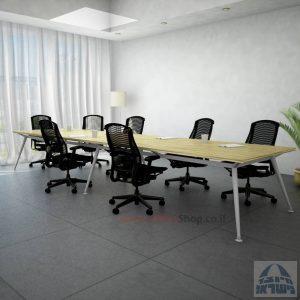 שולחן ישיבות מעוצב דגם Spider כפול רגל כסופה