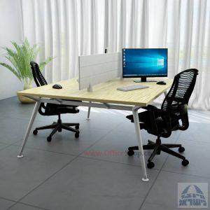 שולחן כתיבה זוגי מעוצב Spider רגל כסופה כולל מחיצת אלומיניום
