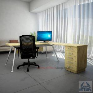 שולחן מנהלים מעוצב Spider- M5 כסוף + שלוחת מגירות ומיסתור עץ