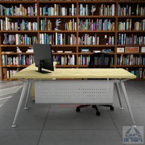 שולחן מנהלים מעוצב Spider- M5 כסוף + שלוחת מגירות ומיסתור מתכת