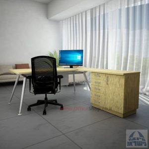 שולחן מנהלים מעוצב Spider- MD5 רגל כסופה + שלוחה ומיסתור מתכת