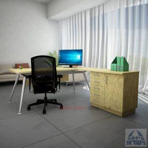 שולחן מנהלים מעוצב Spider- MD5 רגל כסופה + שלוחה ומיסתור עץ