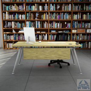 שולחן מנהלים מעוצב Spider רגל כסופה כולל מיסתור עץ