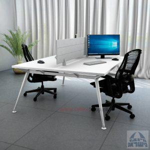 שולחן כתיבה זוגי מעוצב Spider רגל לבנה כולל מחיצת אלומיניום