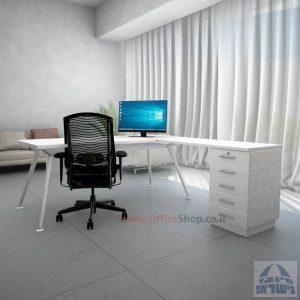 שולחן מנהלים מעוצב Spider- M5 לבן + שלוחת מגירות ומיסתור עץ