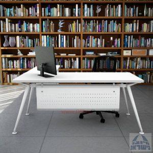 שולחן מנהלים מעוצב Spider- M5 לבן + שלוחת מגירות ומיסתור מתכת