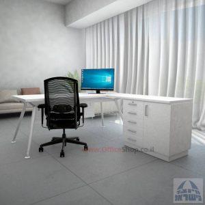 שולחן מנהלים מעוצב Spider- MD5 רגל לבנה + שלוחה ומיסתור מתכת