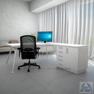 שולחן מנהלים מעוצב Spider- MD5 רגל לבנה + שלוחה ומיסתור עץ