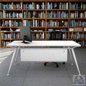 שולחן מנהלים מעוצב Spider רגל לבנה כולל מיסתור מתכת