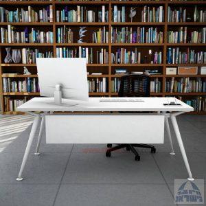 שולחן מנהלים מעוצב Spider רגל לבנה כולל מיסתור עץ