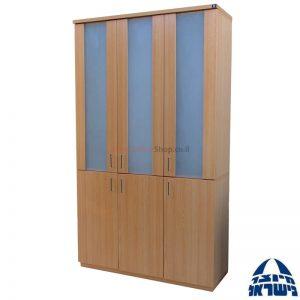 """ויטרינה טופז+קסקט 207X120X40 דלתות מלמין 80 ס""""מ + דלתות זכוכית 120 ס""""מ"""