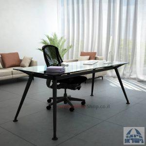 שולחן מנהלים יוקרתי Spider Glass רגל שחורה זכוכית שקופה ללא מיסתור