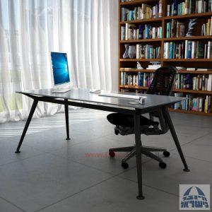 שולחן מנהלים יוקרתי Spider Glass רגל שחורה זכוכית אפורה ללא מיסתור