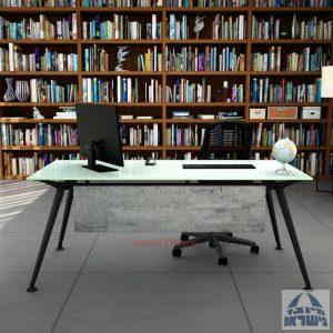 שולחן מנהלים יוקרתי Spider Glass רגל שחורה זכוכית לבנה כולל מיסתור