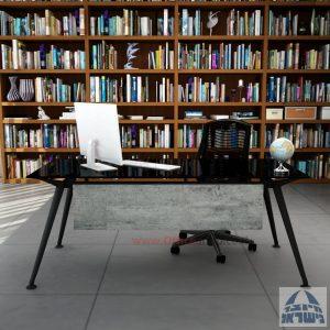שולחן מנהלים יוקרתי Spider Glass רגל שחורה זכוכית שחורה כולל מיסתור