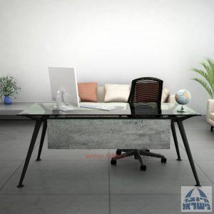 שולחן מנהלים יוקרתי Spider Glass רגל שחורה זכוכית שקופה כולל מיסתור