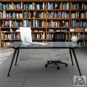 שולחן מנהלים יוקרתי Spider Glass רגל שחורה זכוכית אפורה כולל מיסתור