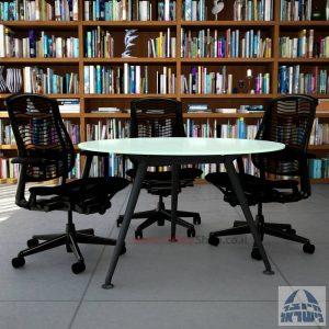 שולחן ישיבות עגול דגם Spider Glass רגל שחורה זכוכית לבנה