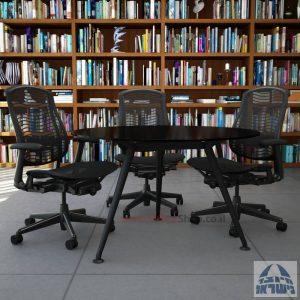 שולחן ישיבות עגול דגם Spider Glass רגל שחורה זכוכית שחורה
