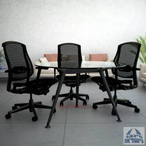שולחן ישיבות עגול דגם Spider Glass רגל שחורה זכוכית שקופה