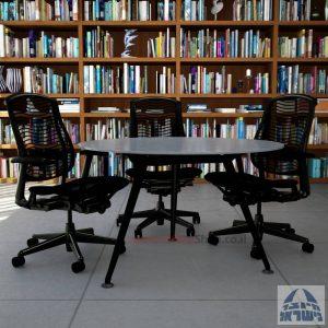 שולחן ישיבות עגול דגם Spider Glass רגל שחורה זכוכית אפורה