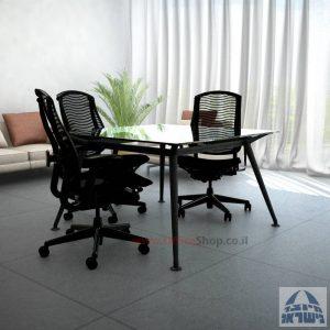 שולחן ישיבות מרובע דגם Spider Glass רגל שחורה זכוכית שקופה