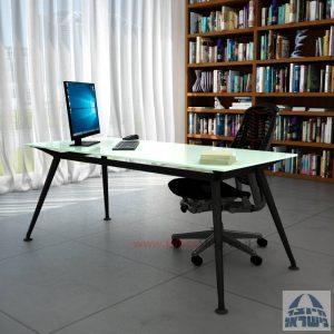 שולחן מנהלים יוקרתי Spider Glass רגל שחורה זכוכית לבנה ללא מיסתור