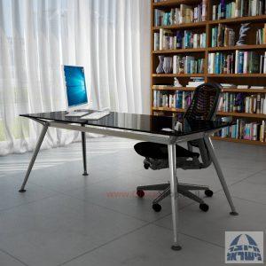 שולחן מנהלים יוקרתי Spider Glass רגל כרום ניקל זכוכית שחורה ללא מיסתור
