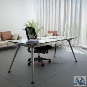 שולחן מנהלים יוקרתי Spider Glass רגל כרום ניקל זכוכית שקופה ללא מיסתור