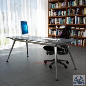 שולחן מנהלים יוקרתי Spider Glass רגל כרום ניקל זכוכית אפורה ללא מיסתור