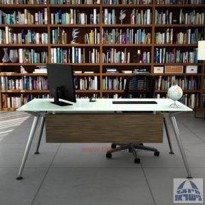 שולחן מנהלים יוקרתי Spider Glass רגל כרום ניקל זכוכית לבנה כולל מיסתור