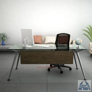 שולחן מנהלים יוקרתי Spider Glass רגל כרום ניקל זכוכית שקופה כולל מיסתור