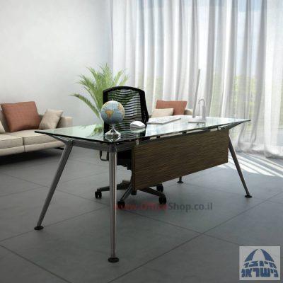 שולחן מנהלים יוקרתי דגם Spider Glass כולל מיסתור – בהתאמה אישית